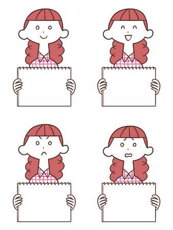 Redhead having a whiteboard woman Illustration