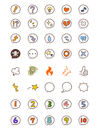 Icon cartoon emotion and figures Illustration