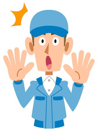 Work wear for men surprised shock. Illustration