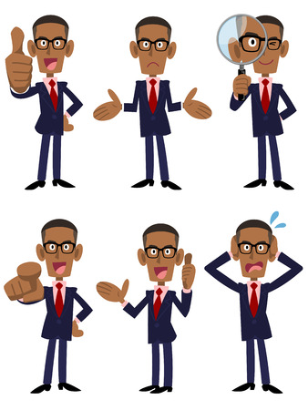 African businessman 6 kinds of poses and gestures. Vectores