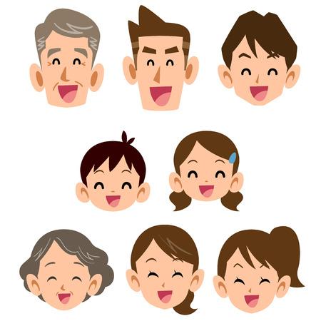 3 世代家族の笑顔アイコン  イラスト・ベクター素材