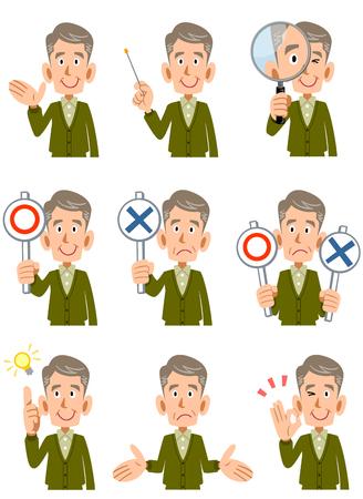 expresiones faciales: Conjunto de hombres de edad avanzada expresiones faciales y posturas Vectores