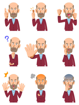Set of elderly men facial expressions and poses.