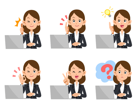 A set of employee Lady laptop look and gesture