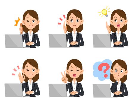 sexo femenino: Un conjunto de aspecto y gesto de la computadora portátil de señora empleado