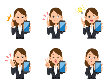 operation for: A set of office workers female smart phones look and gesture