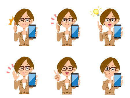 A set of office workers female smart phones look and gesture