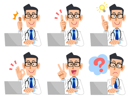 A set of doctor man laptops look and gesture Stock Illustratie