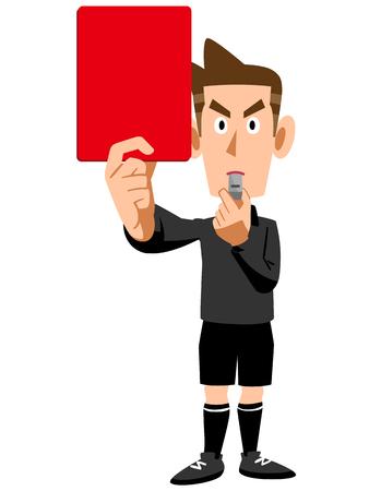 Red card referee sent off Illustration