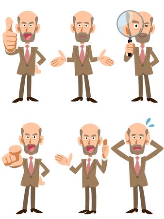 Oudere mannen past bij werknemers van het bedrijf Stock Illustratie
