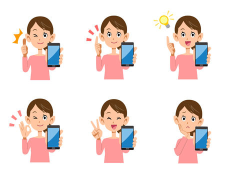 facial expression: Set of women Smartphone facial expression and gestures