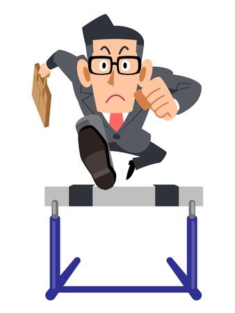 Businessman glasses hurdles effort Vektoros illusztráció