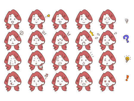 Women face look icon set red hair perm