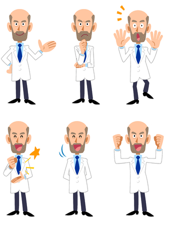 Researcher Dr doctor men seasoned 6 pose set