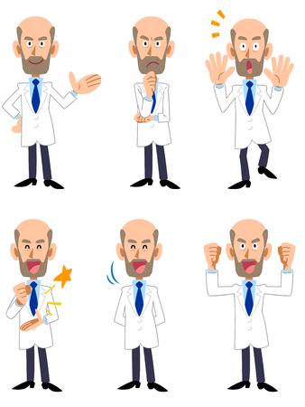 Researcher Dr doctor men seasoned 6 pose set