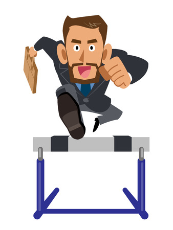 cant: Businessman Latin series hurdle smile time Illustration