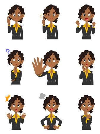 Nine black women's mannerisms and facial expressions Illustration