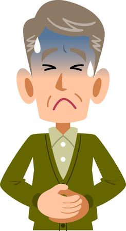 Kranke Männer im Alter von älteren Bauchschmerzen oberen