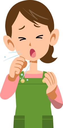 病を患う女性咳上部