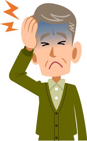 病気の男性高齢者高齢者の頭痛の上