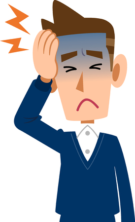 Zieke man heeft hoofdpijn Stock Illustratie