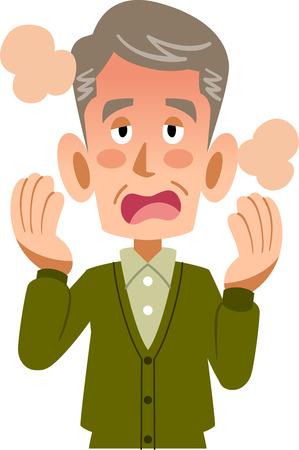 Sick male elderly seniors fever upper Illustration