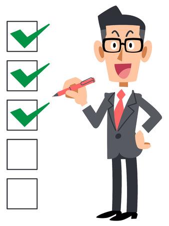 チェックリスト企業笑顔眼鏡  イラスト・ベクター素材