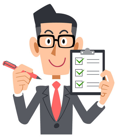 Corporate checklist check eyeglasses