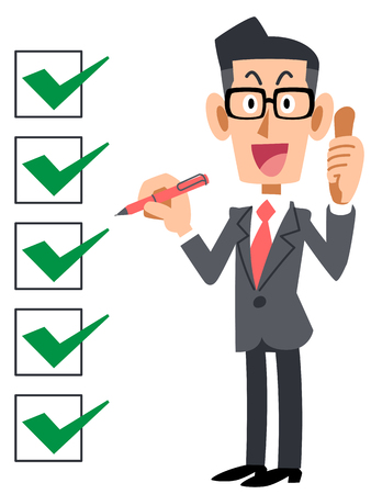 Checklist corporate complete eyeglasses Stok Fotoğraf - 83175170