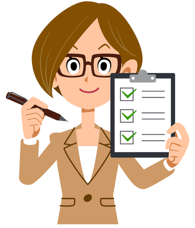 Smiling businesswoman checklist review Illustration