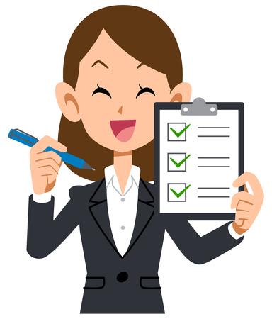 Smiling businesswoman checklist review Illustration