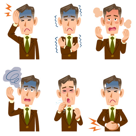 The symptoms of the middle-aged businessman sick six Stock Vector - 83392037