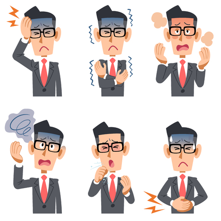 Symptoms of a bespectacled businessman sick six Stock Vector - 83392038