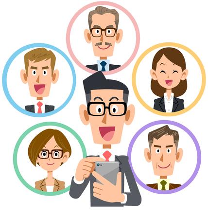Business smartphone social networking smile eyeglasses
