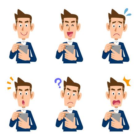Smartphones do men look Stock Illustratie