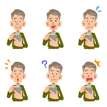 高齢者の一見のための看護のスマート フォン操作  イラスト・ベクター素材