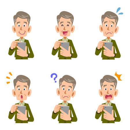 Smartphone operation nursing for the elderly look