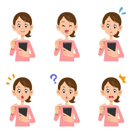 スマートフォンは女性に見える  イラスト・ベクター素材