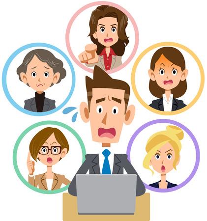 PC 네트워크에 문제가있는 남성과 여성 근로자.