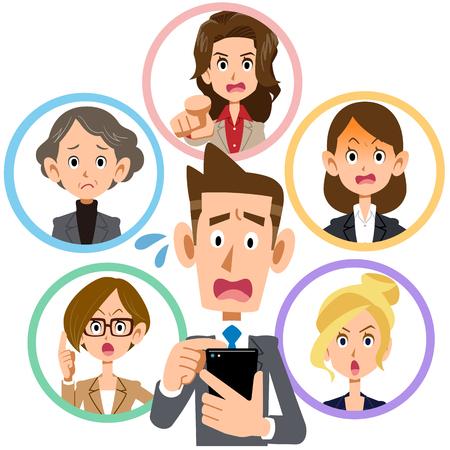 휴대 전화 네트워크 남자와 여자 문제가 고민.