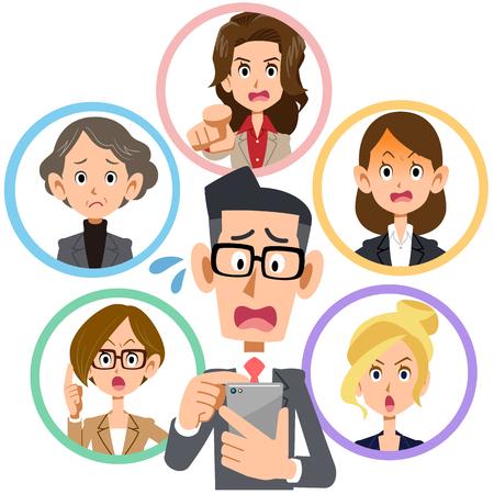 휴대 전화 네트워크 문제 여성 직원 심각한. 일러스트