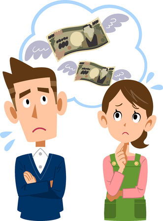 Husband and wife make money wasted spending household. Illustration