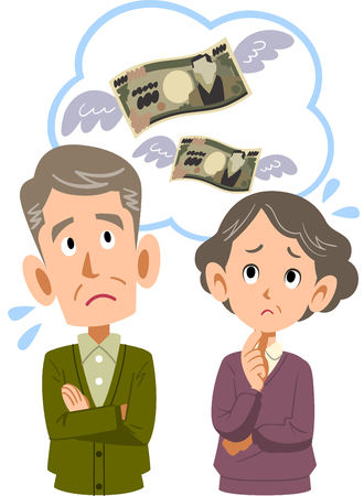 An old couple make money wasted spending household.