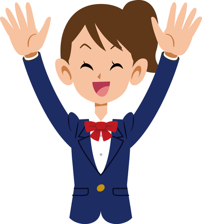 delighted female student raising hands Vector illustration. Illusztráció