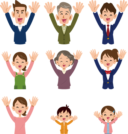 Delighted family members with arms raised.   Vector illustration  on white background.