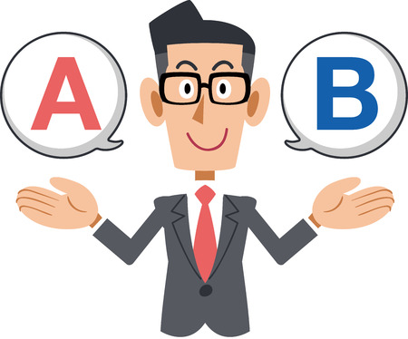 Businessman wearing glasses with choices a or b Vector illustration.