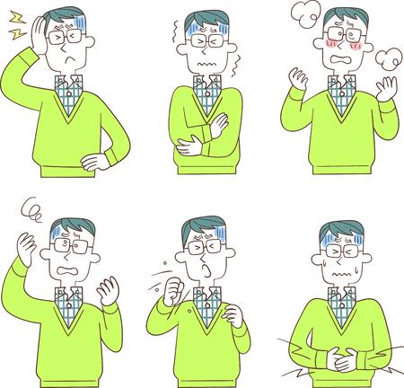 Six symptoms of male illness Illusztráció