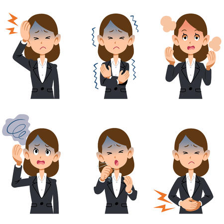 Working women in suit with different symptoms of illnesses