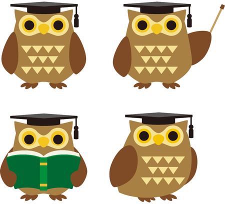 Owls character set illustration in graduation hat Ilustração