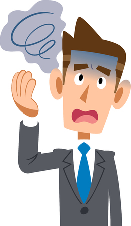Male physically uncomfortable dizziness of a company employee wearing a suit Ilustração